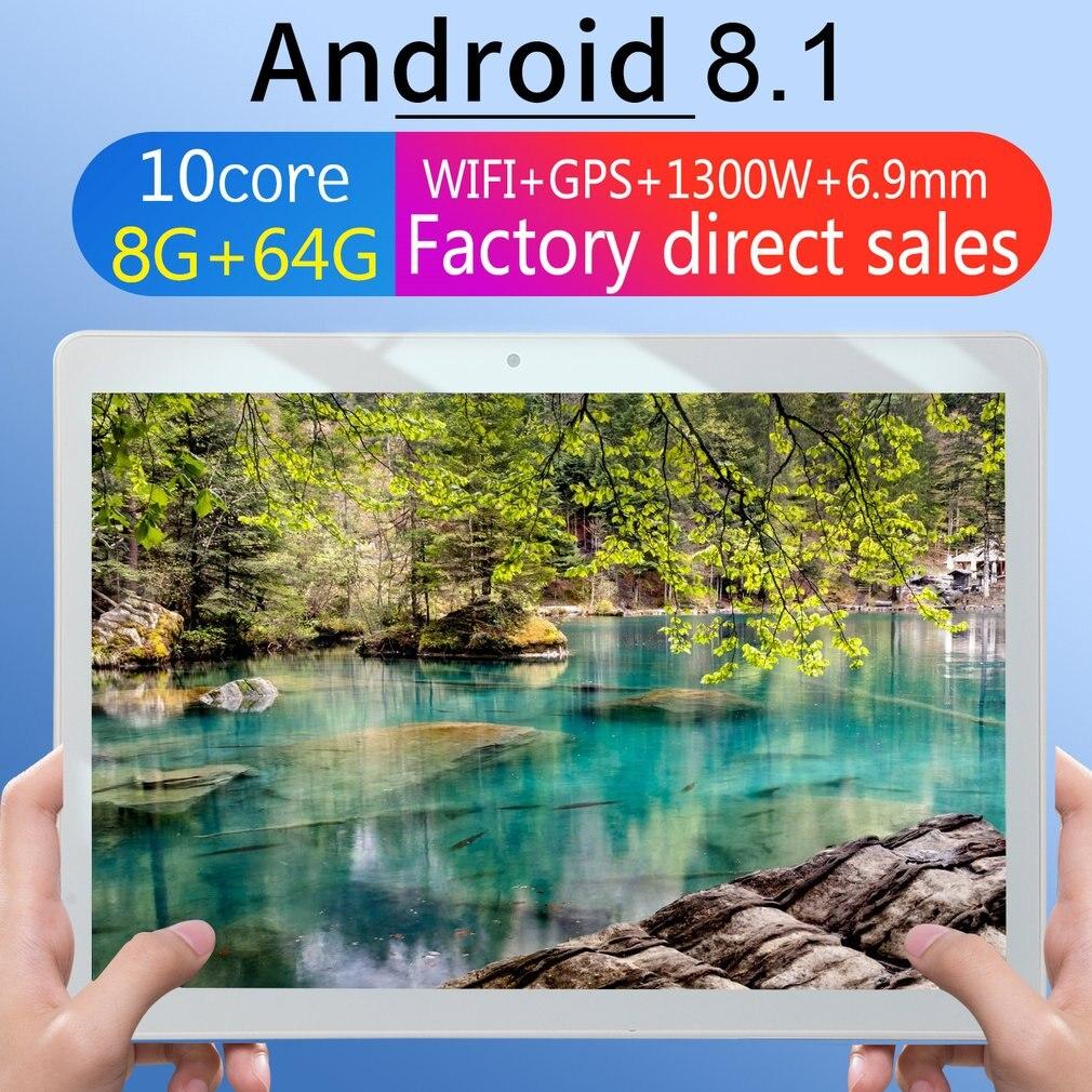 KT107 yuvarlak delik Tablet 10.1 inç HD büyük ekran Android 8.10 sürüm moda taşınabilir Tablet 8G + 64G pembe Tablet pembe ab tak