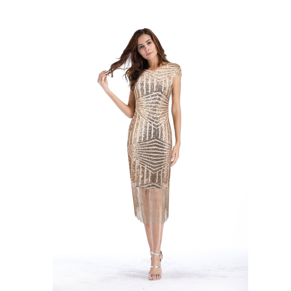 Gold V-back Sequins Tassel Short Cocktail Dresses Vestidos Coctel 2019 Semi Formal Dress Party Women Sexy Prom Robe