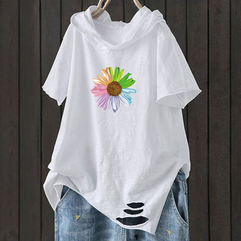 F&je New Fashion Summer Women T Shirt Plus Size Short Sleeve Loose Casual Hooded Tee Shirt Hole Cotton Femme Print Tops D32 6