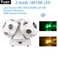 4Pcs/Lot  Stage Moving Head Light 18X10W RGBW 4IN1 LED 3 Head  DMX512 Color Music Sound Party Light DJ Disco Club Lighting
