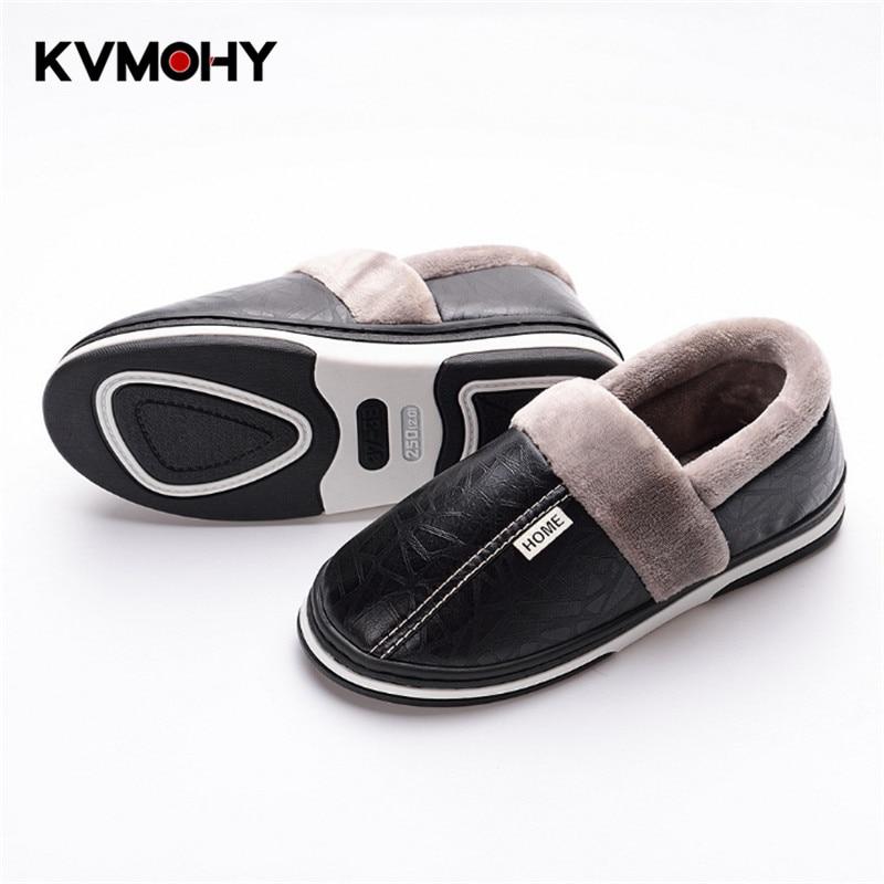 Fur Slippers Winter Men's Shoes Leather Home Indoor Non-Slip Lover Slides Men Warm Waterproof Winter Slipper Plus Size 37-50