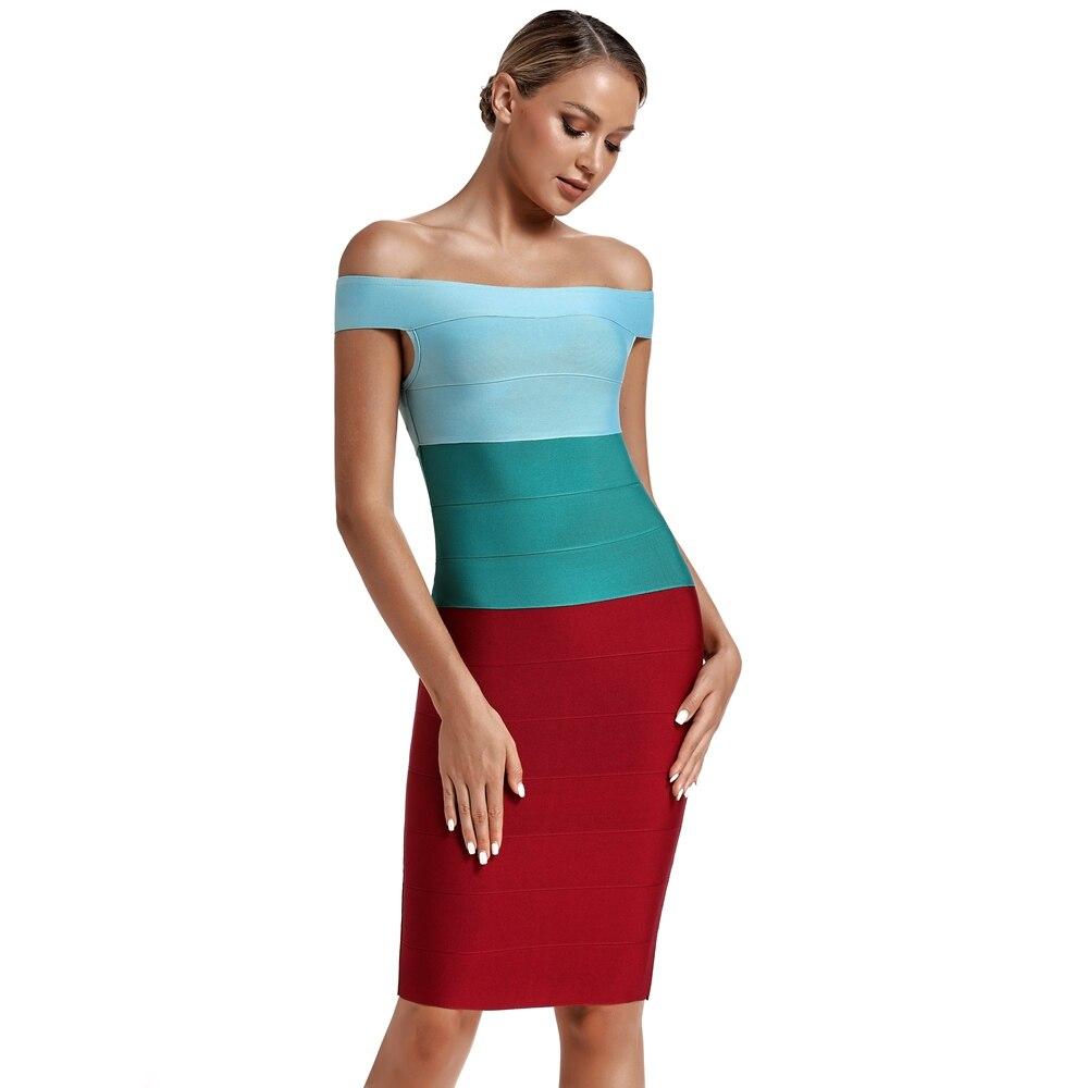 Женское Бандажное платье с эффектом омбре вечернее облегающее