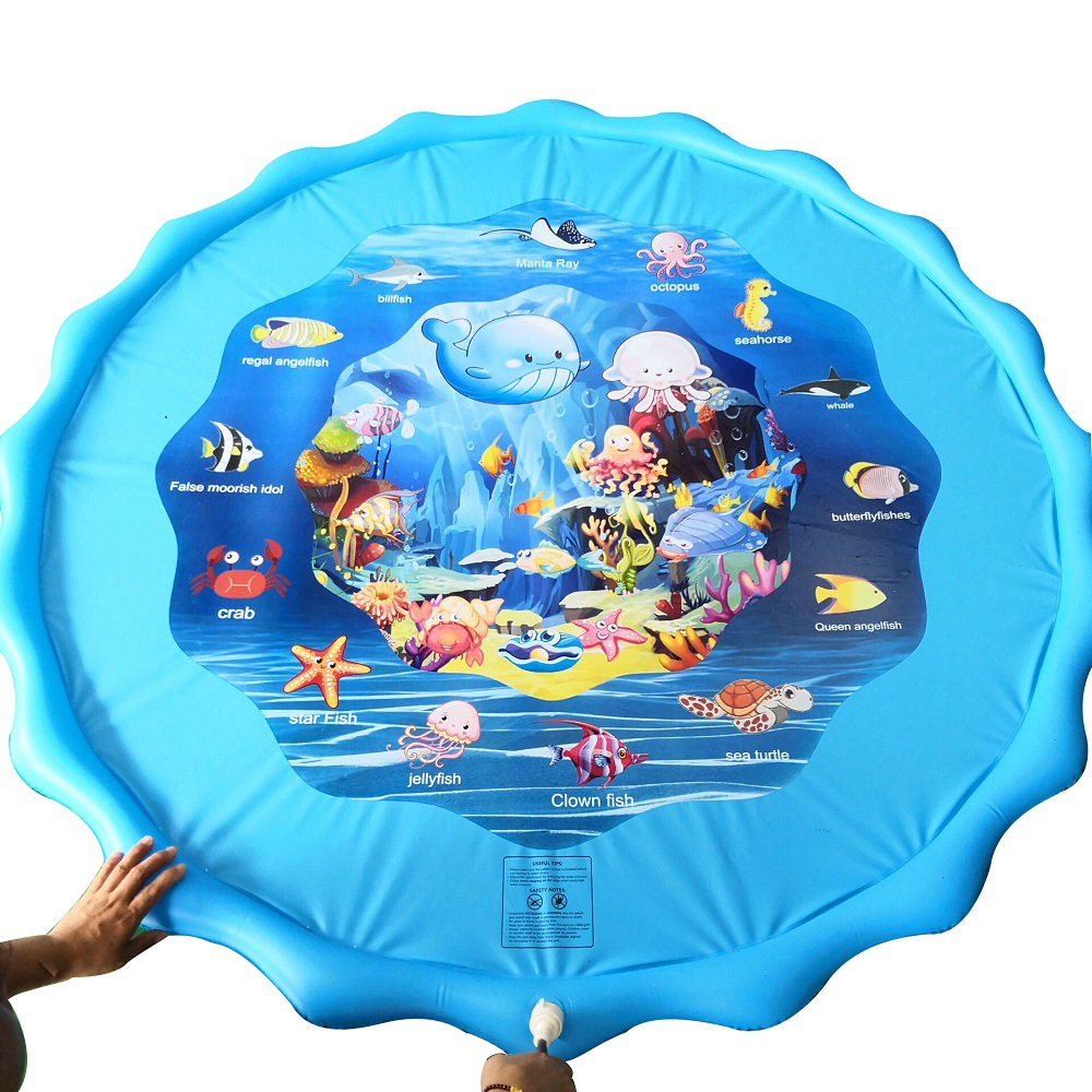 110CM Summer Children's Baby Play Water Mat Games Beach Pad Lawn Inflatable Spray Water Cushion Toys Outdoor Tub Swiming Pool
