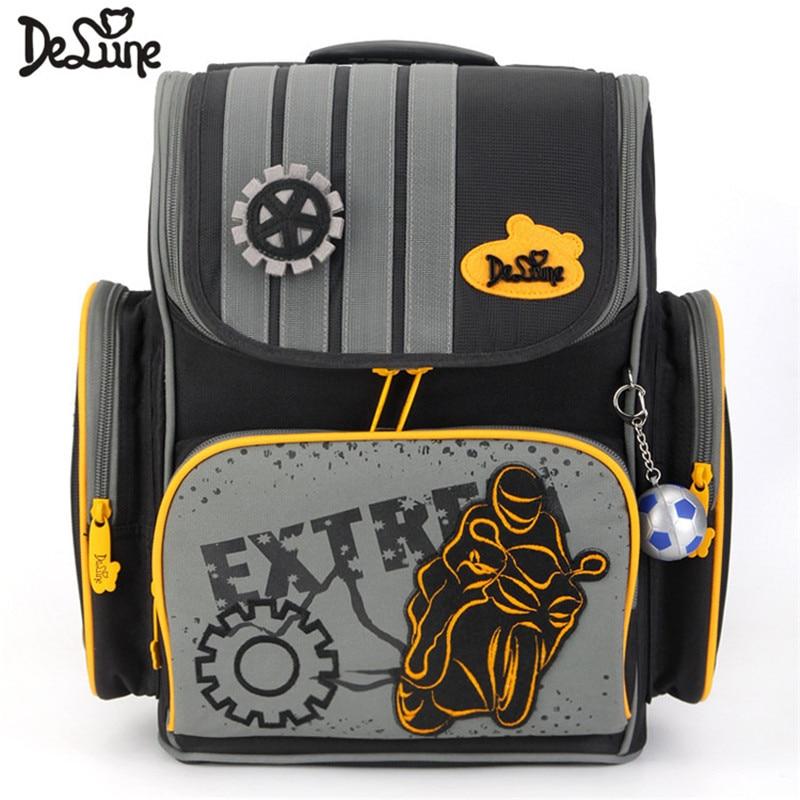 Delune Brand 1-005 Primary School Bag Kids Boys Orthopedic Cartoon High Quality 3D Schoolbags Grade 1-3 Children School backpack
