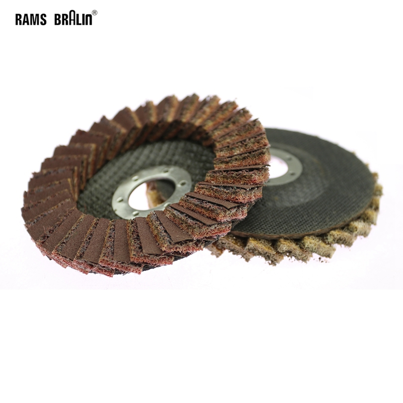 "1 Piece 4.5""/115*22mm Scotch Brite Flap Grinding Disc Bulgarian Angle Grinder Non-woven Polishing Disc For Metal Aluminum"