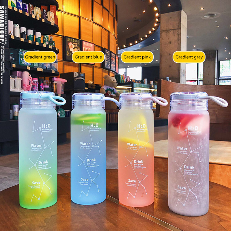 Portable Water Bottle Simple Frosted Glass Personality Beautiful Appearance Trend Leakproof Kettle Hidro Flask Bottles Drinkwave