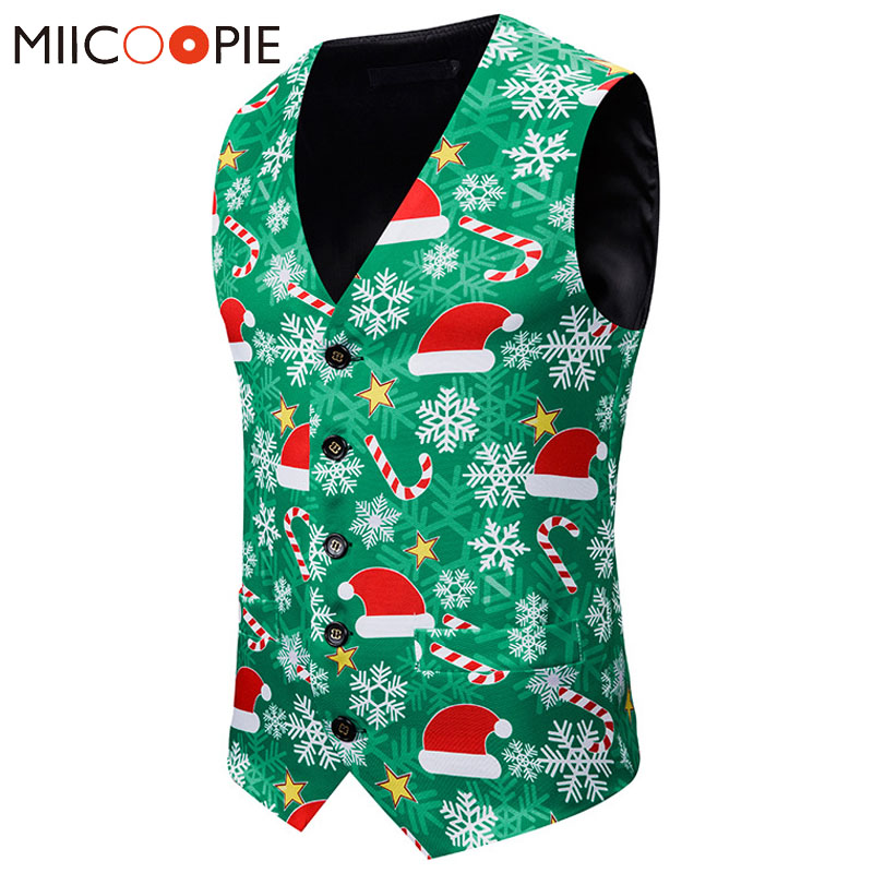 2019 Fashion Green Waistcoat Men Casual Slim Fit Sleeveless Mens Suit Vest Single Breasted Christmas Printed Chaleco Hombre XXL