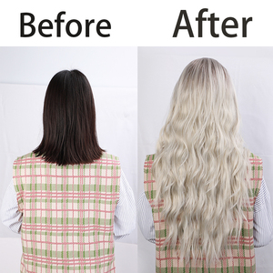 Image 5 - AISI HAIR Long Womens Wigs Ombre Platinum Blonde Wigs Heat Resistant Part Side Synthetic Wavy Wigs for African American Women