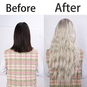 Image 5 - Aisi Capelli Lunghi Delle Donne Parrucche Ombre Platinum Blonde Parrucche Resistente Al Calore Lato Parte Sintetiche Ondulate Parrucche per Le Donne Afro americane