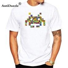 Antidazzle 2018 personalidad creativa moda Cool Space Invaders Gioco Vintage videojuego blanco 3D impreso algodón manga corta