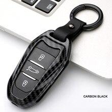من ألياف الكربون غطاء حماية مفتاح السيارة بدون مفتاح قذيفة فوب لبيجو 208 308 508 3008 5008 لسيتروين C4 بيكاسو DS3 DS4 DS5 DS6