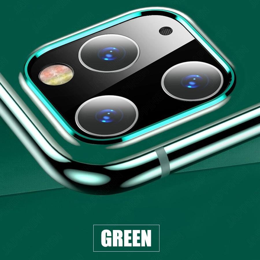 Объектив камеры полное покрытие защитное металлическое кольцо+ закаленное стекло для iPhone 11 Pro XS Max XR X задняя камера объектив защитный чехол - Цвет: Green