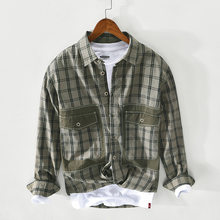 Spring Summer New Men Casual Long-Sleeved Plaid Cotton Shirt Japanese Fresh Simple Youth Fashion Pocket Decoration Lapel Tops