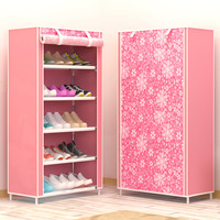 Assemble Shoe Rack 6 layers 5 grids Fabrics Shoe Cabinet Organizer Removable Simple Shoe Storage for Home Furniture