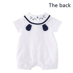 Image 4 - をpureborn新生児少年ロンパースセーラーホリデーベビー服夏通気性の綿ベビーロンパースクリスマス服
