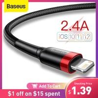 Baseus-Cable USB para iPhone 12 11 Pro Max Xs X 8 Plus, Cable de carga rápida 2.4A para iPhone 7 SE