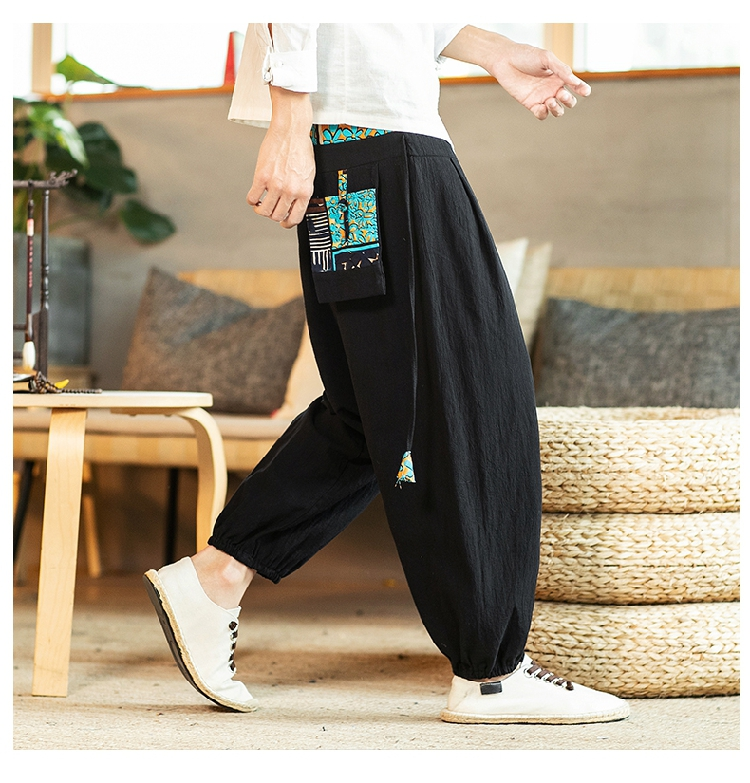 Sinicism Store Chinese Cross-Pants Men 2020 Autumn Oversize Fashion Mens Patchwork Button Pants Male Wide-legged Loose Pants 53