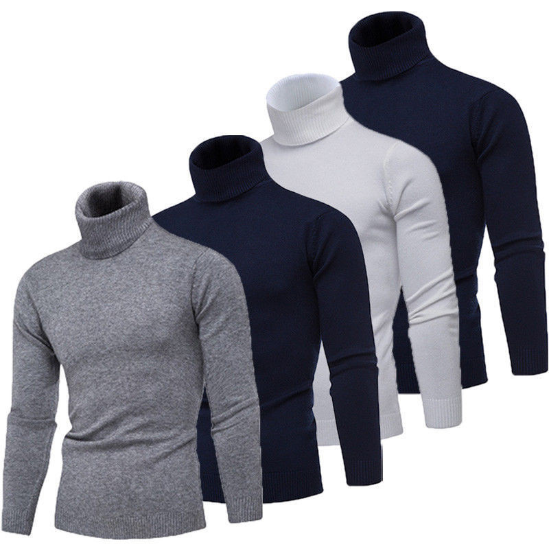 Mens Turtleneck Knitted Sweater Cotton Long Sleeve Slim Fit Autumn Winter Top Outwear Solid Black White Navy Blue Gray M-2XL