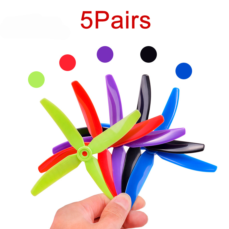 5Pairs Competition <font><b>5040</b></font> <font><b>4</b></font> <font><b>Blades</b></font> Propeller 5 Inch Left/Right Dynamic Balance Paddle Violence Resistant Prop for FPV RC Drone image