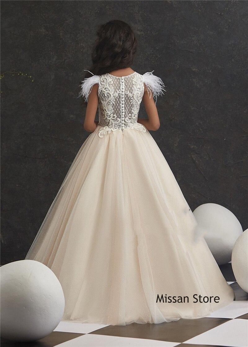 Light Champagne Lace Tulle Flower Girl Dress Little Girls Pageant Dress Girls Ball Gown