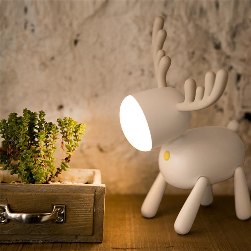 Led Usb Charging Elk Night Light Charging Cute Deer Atmosphere Light Intelligent Timing Lovely Reading Light Table Lamp Gift