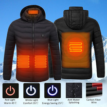Men Winter USB Heating Jackets Smart Thermostat women Warm Hooded Heated Clothing Fever 4 places cotton-padded jacket