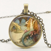 LETS SLIM Mermaid Vintage Necklace, Jewelry, Charm Family Photo Private Custom