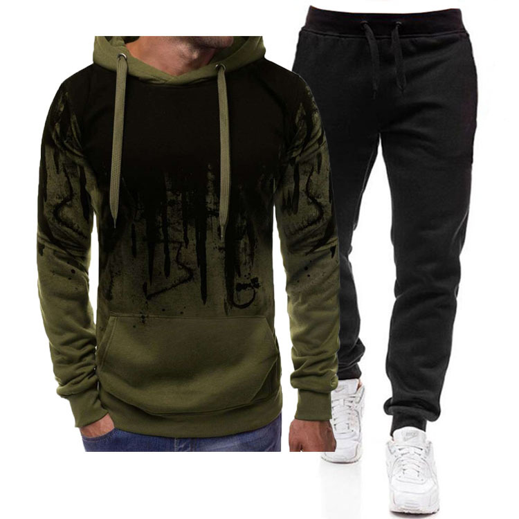 Luck Autumn Men Two Piece Sets Jogging Tracksuit Hoodie Casual Drawstring Sportswear Print Zipper Man Sweatshirts Hoodies+Pants