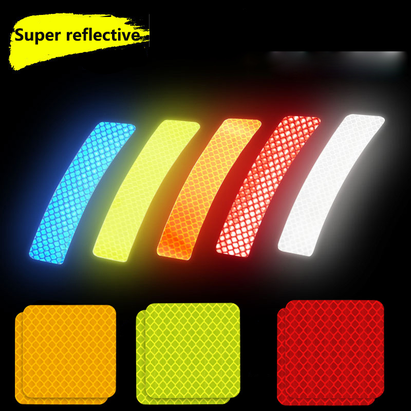 Car Reflective Stickers Wheel Eyebrows Open Door Stickers Night Safety Warning Stickers Anti-Collision Body Creative Decoration