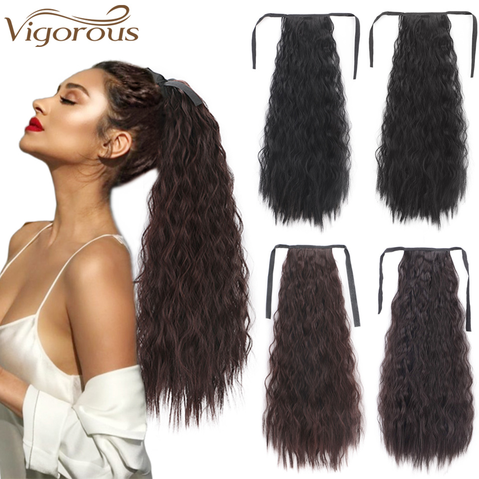 Vigorous 22inch Kinky Straight Synthetic Ponytail Extensions Clip-in Pony Tail Natural Hair Extension Heat Resistant Hair Pieces