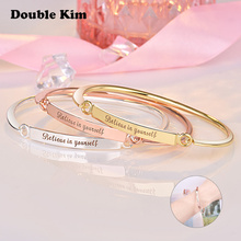 Classic BELIEVE IN YOURSEIF Love Bracelet Gold Stainless Steel Bangles for Women Men Unisex Charm Bracelet Fashion Jewelry Gift fashion classic cross bracelet bangles for men black gold color stainless steel male band bracelets jewellery gift