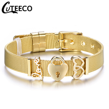 все цены на Cuteeco 2019 Hot Fashion Simple Love Lock Pan Charm Bracelet Stainless Steel Strap Mesh Bracelet For Woman Jewelry Gifts