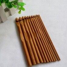 Juego de agujas de bambú de ganchillo 12 Uds., agujas para tejer DIY, manualidades de hilo para tejer para el hogar