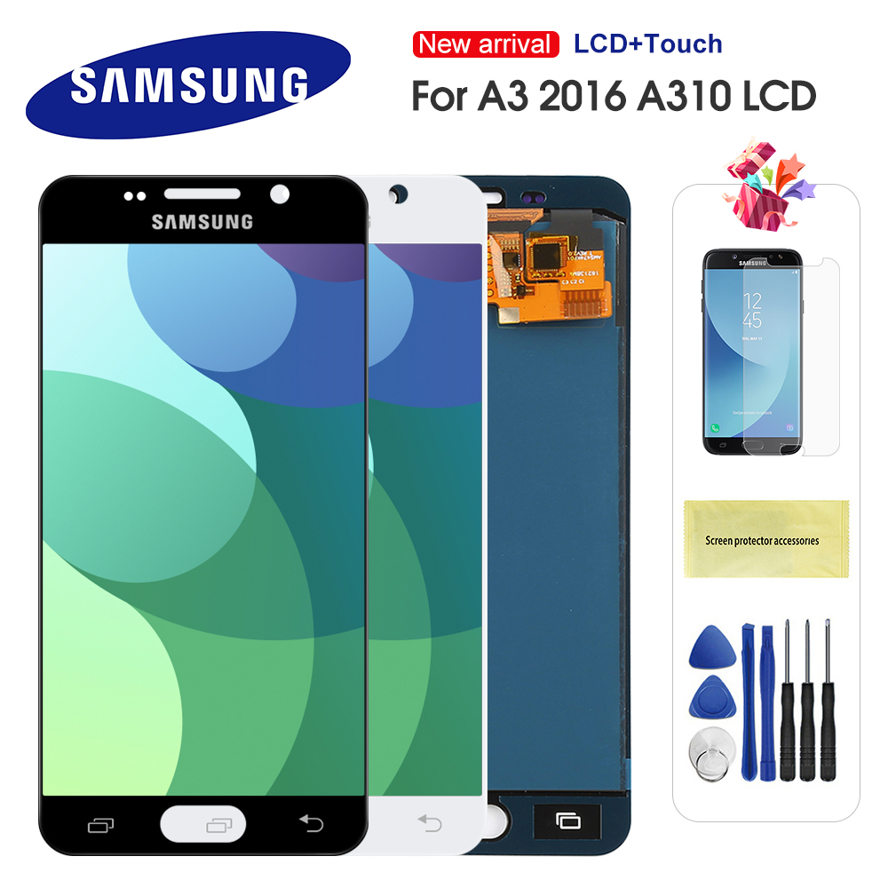 <font><b>LCD</b></font> For <font><b>Samsung</b></font> Galaxy A3 2016 <font><b>A310</b></font> A310F A3100 <font><b>LCD</b></font> Display Touch Screen Digitizer Assembly For A3 <font><b>A310</b></font> Can Adjust Brightness image