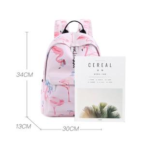Image 3 - Flamingo Printing Mini Women Backpack Waterproof Nylon College Student School Bags For Teenage Girls Bookbag female Casual Daily