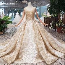 HTL324 Lüks düğün elbisesi kolsuz v yaka aç geri el yapımı boncuk parlak gelinlik elbisesi tren vestidos de boda 2019