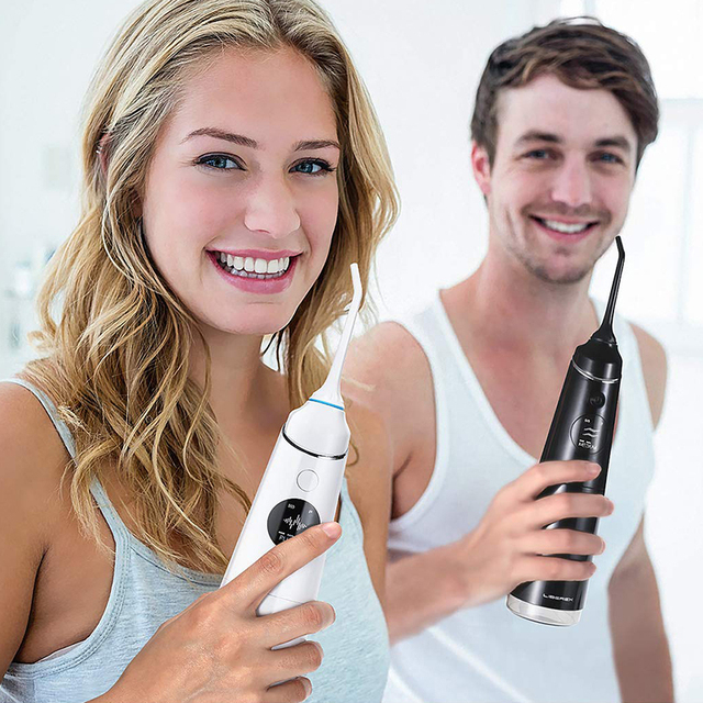 Liberex White Black Water Flosser Irrigator for Teeth Portable Dental Cleaning Electric Oral Care 300ml Waterproof for Family
