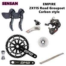 SENSAH Carbon faser 2x11 Geschwindigkeit, 22s Rennrad Shifter Kassetten 11 s Ketten Groupset, fahrrad 170mm 105 Kurbelgarnitur für 5800 R7000