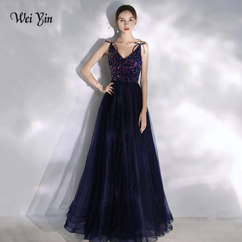 AE0124 wei yin Sexy Sequin Evening Dress 2020 Straps Evening Gown V Neck Formal Party Prom Dress robe de soiree