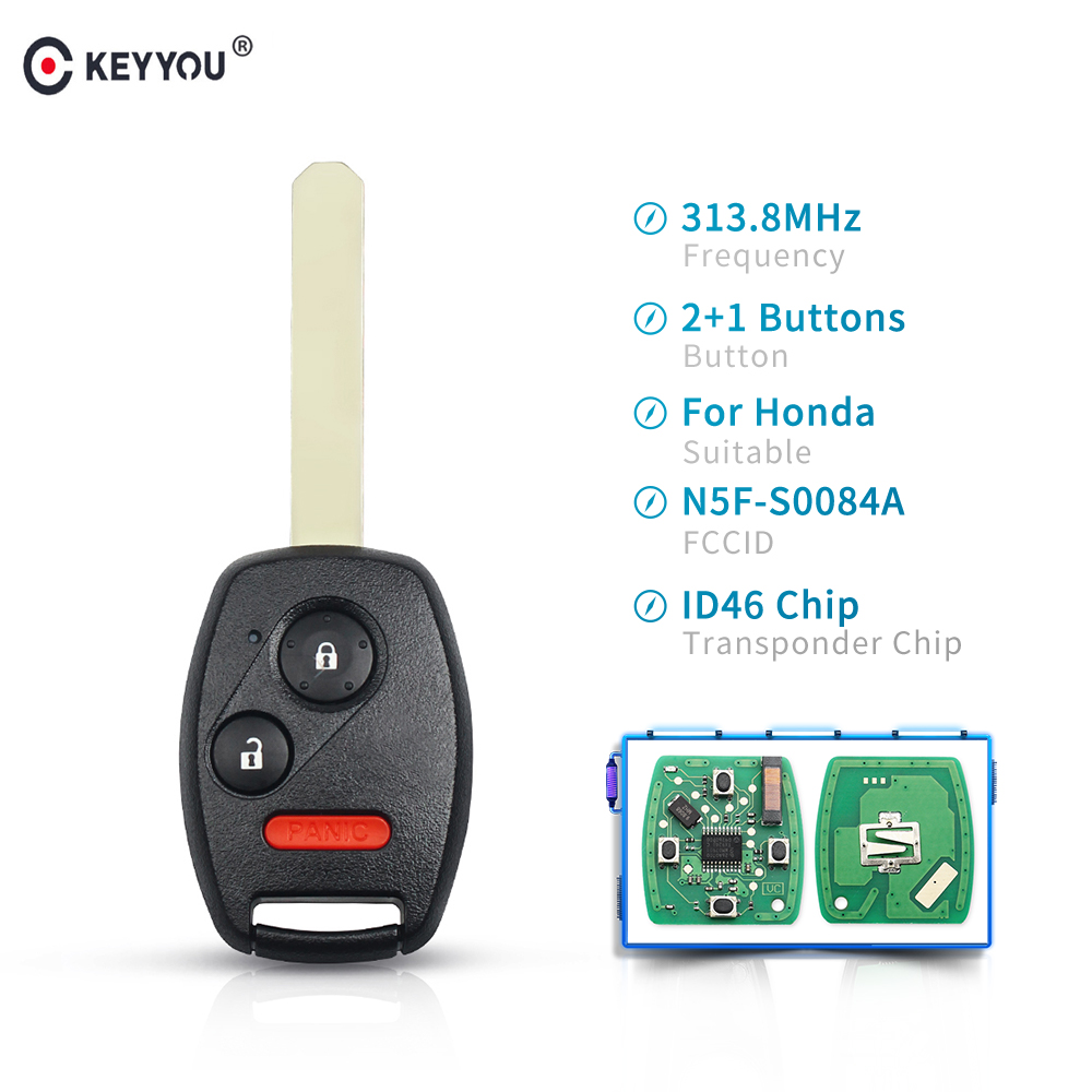 KEYYOU Replacement 313.8Mhz N5F-S0084A <font><b>Remote</b></font> Key ID46 Chip 2+1 3 Button For <font><b>Honda</b></font> Civic Accord EX 2006 2007 2008 2009 2010 2011 image