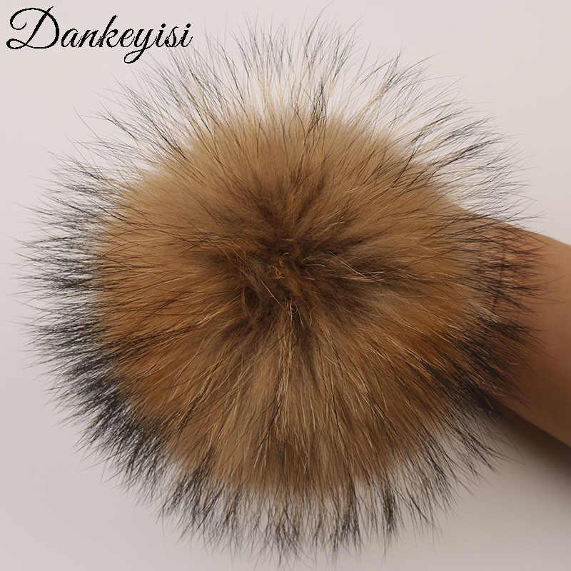 DANKEYISI Thực Lông Pompoms 13-14cm DIY Bạc Fox Gấu Trúc Lông POM Bóng Lông Tự Nhiên Pompon Cho mũ Giày Túi Phụ Kiện