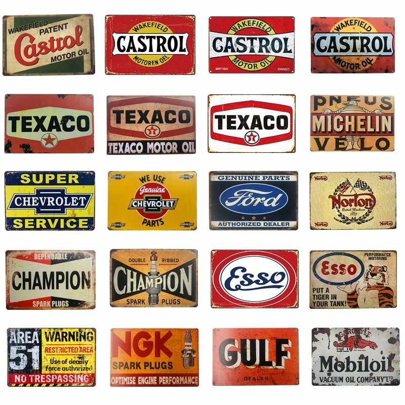 Vintage Metall Zinn Zeichen Esso Castrol Texaco Golf Motor Öl Metall Plaque Poster Bar Pub Garage Decor Retro Wand Dekor