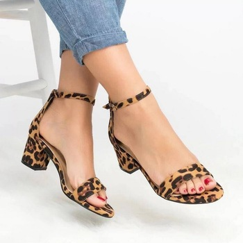 Ankle Strap Heels Sandals 2020 Leopard Print Women Summer Shoes Open Toe Chunky High Heels Party Dress Sandals Women Pumps #Hot red sandals women high heels sandals pointed toe ankle strap summer sandals women sexy dress shoes woman lace up sandals k 013