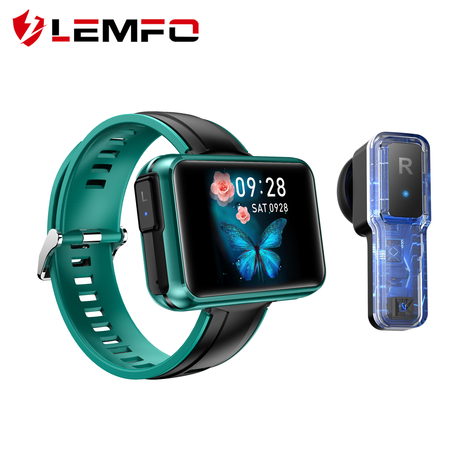 LEMFO TWS Wireless Smart Watch Men Sports Bluetooth Earphones Heart Rate Monitor 24H FUll Touch Screen Smart watch
