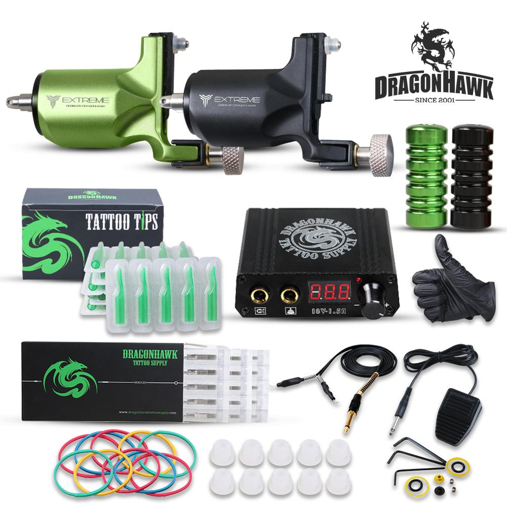 Dragonhawk Tattoo Kit 2 Rotary Tattoo Machine Power Supply For Tattoo Artists Supplies