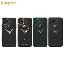 Kingxbar Embellished Crystals Case For iPhone 11/ Pro/ Max Luxury Heart Rhinestone Diamond Plated Hard Clear PC Back Case Cover