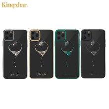 Kingxbar embelezado cristais caso para iphone 11/pro/max luxo coração strass diamante banhado a disco claro caso capa
