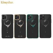 Kingxbar קשט גבישי מקרה עבור iPhone 11/פרו/מקס יוקרה לב ריינסטון יהלומים מצופה קשיח נקה מחשב חזרה מקרה כיסוי