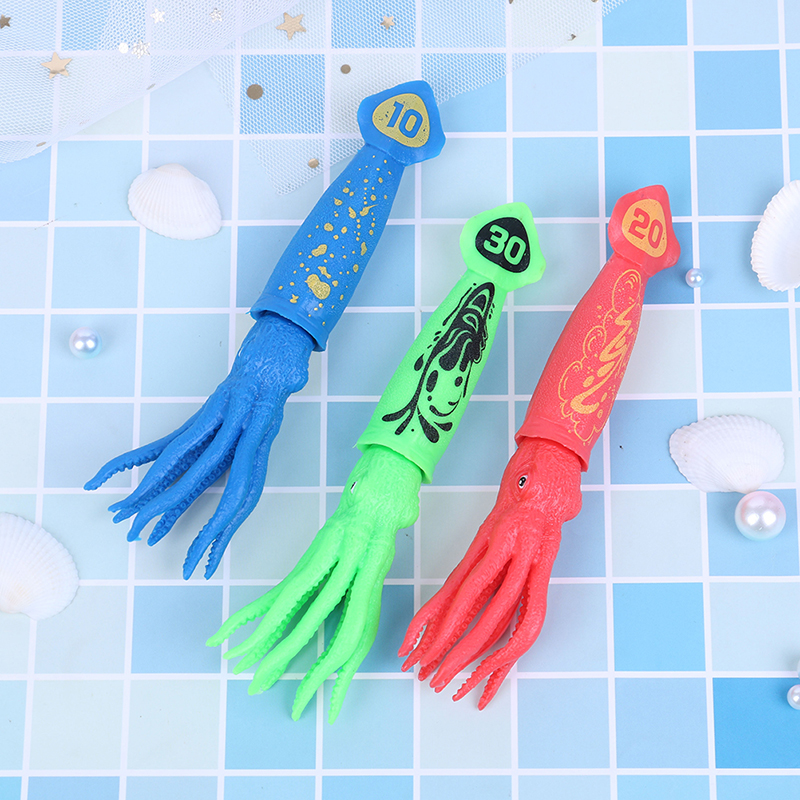 3pcs Octopus Torpedo Rocket Throwing Toy Pool Game Toy Seaweed Grass Swimming Pool Summer Beach Sticks Toys For Children