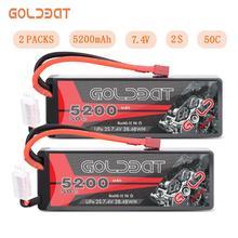 GOLDBAT batería Lipo de 5200mAh para coche teledirigido, batería de 7,4 V 50C 2S con enchufe decanos para vehículo teledirigido Evader BX, 1/2 unidades